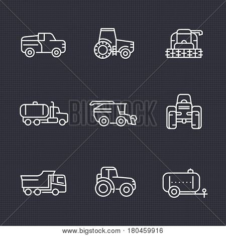 Agricultural machinery line icons set, tractor, truck, pickup, harvester, combine, agrimotor, vector illustration