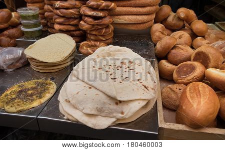 Fresh Tradition Iraqian Bread And Group Of Baked Goods For Sale At Mahane Yehuda Market, Popular Mar