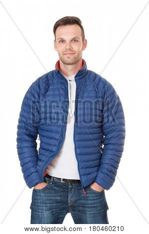 Attractive young man. All on white background.