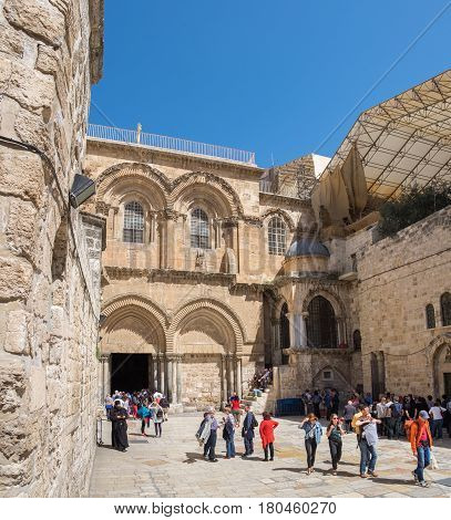 JERUSALEM ISRAEL - MARCH 31 2017: Panoramic view of Entrance to Holy Sepulchre Church in Jerusalem. Israel