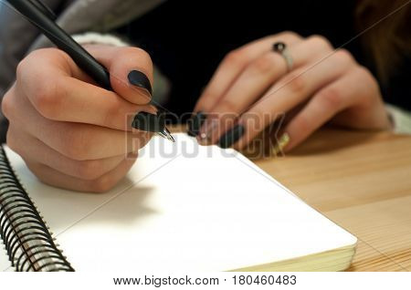 Paper In Business Woman Female Hand Writing Notes On A Table Black Manicure And Blank Letter