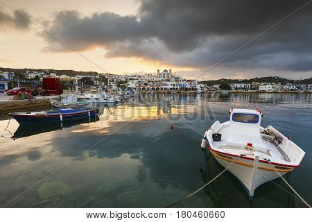 LIPSI, GREECE - MARCH 27, 2017: Harbour of Lipsi island in Dodecanese, Greece on March 27, 2017.