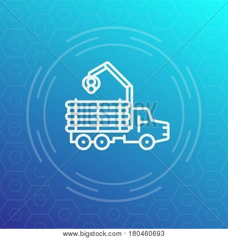 Forwarder, forestry vehicle, logger, logging truck line icon