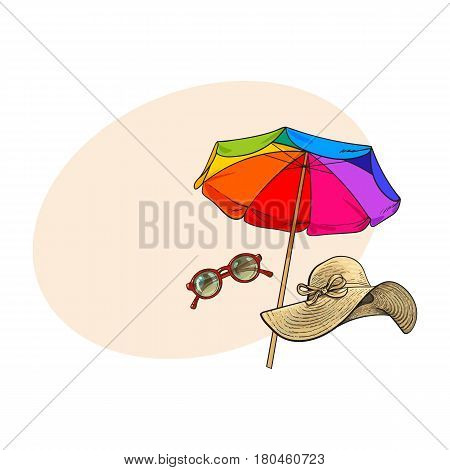 Summer straw hat with wide flaps, sunglasses in round frame and beach umbrella, sketch vector illustration with space for text. Hand drawn floppy straw hat, round sunglasses, beach umbrella