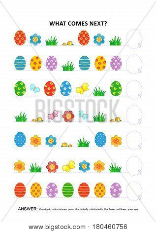 Easter themed educational logic game training sequential pattern recognition skills: What comes next in the sequence? Answer included.