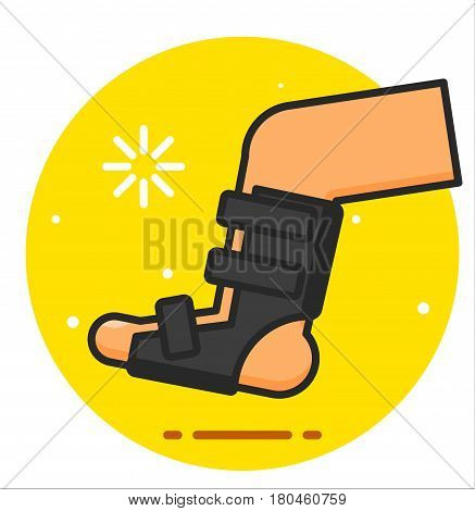 Broken leg bandage design illustration icon rasterized