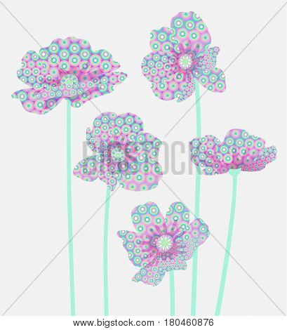 Five abstract flowers on a light gray background