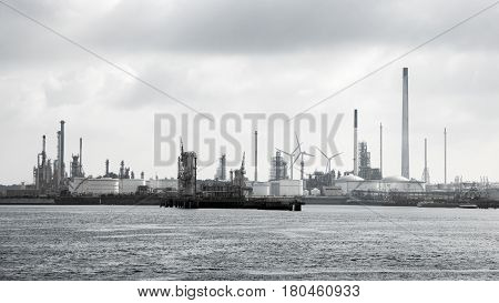 Harbor view of a  petrochemical industrial complex