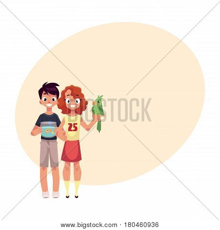 Two teenage kids, girl holding green parrot, boy with aquarium, fish bowl, cartoon vector illustration with place for text. Boy and girl with pets - goldfish, golden fish and green parrot