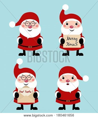 Collection of Christmas Santa Claus isolated over blue background