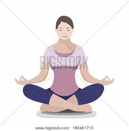 Silhouette of yoga woman. Padmasana - Lotus pose. Flat style