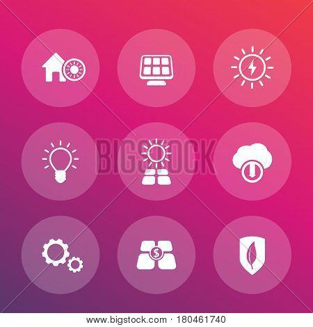 Solar energy vector pictograms, alternative energetics, sun powered house icons set