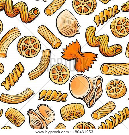 Seamless pattern, backdrop design of uncooked Italian pasta, sketch vector illustration on white background. Hand drawn Italian pasta seamless pattern for banner, wrap, textile design