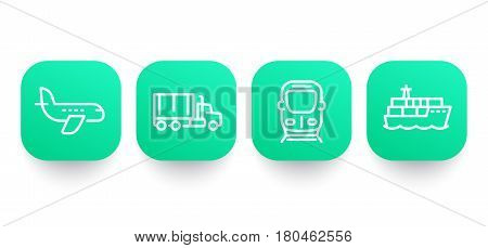 transportation industry line icons, airplane, cargo ship, truck, train