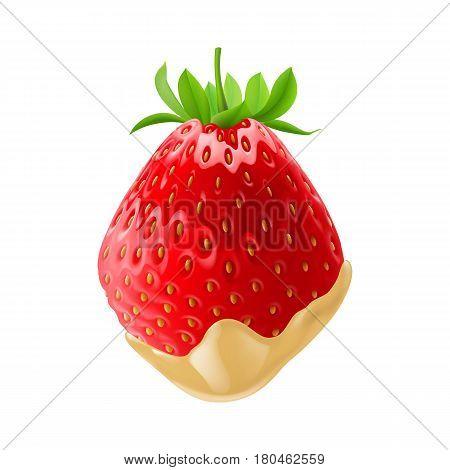 Big Ripe Strawberry Dipped in White Chocolate Fondue