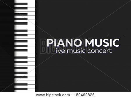 Piano Concert Poster Design. Live Music Concert. Piano Keys. Vector Illustration.