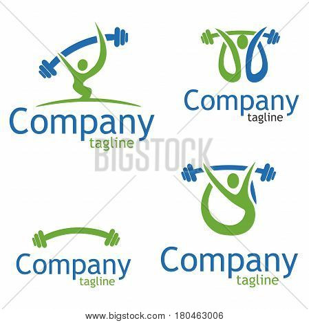 Weightlifter vector logo. Brand logo in the shape of a weightlifter. Icon weightlifting on a white background