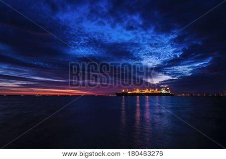 LNG TERMINAL AT DAWN - Tanker and sunrise in Swinoujscie