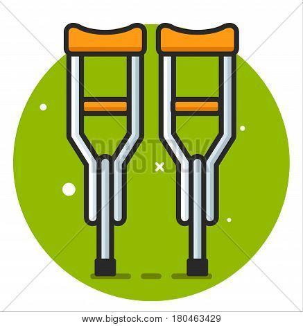 Crutch aid help foot flat icon illustration
