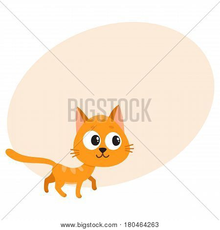 Cute and funny red cat character, curious, playful, mischievous, cartoon vector illustration with space for text. Cute and funny red cat character walking curiously, looking aside