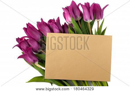 Blank Greeting Card And Envelope With Purple Tulips Over White Isolated Background