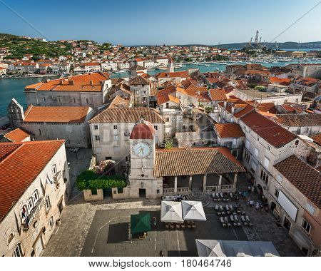 Aerial View on Trogir and it's Main Square from Cathedral of Saint Lawrence Croatia