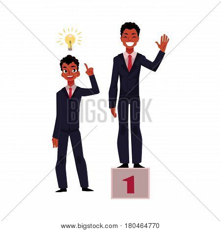 Black, African American businessman, manager has insight, gets idea, achieves and celebrates success, cartoon vector illustration isolated on white background. Black businessman, idea and success