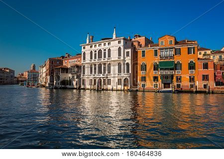 Grand Canal and Palazzo Giustinian Lolin in Venice Italy