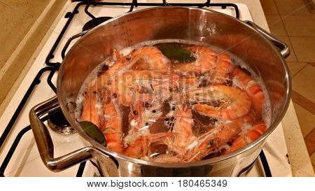 Large Tiger Shrimps Are Cooked In A Saucepan