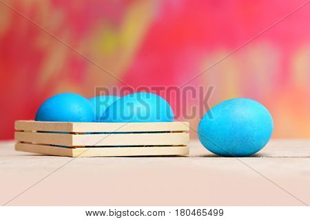 Traditional Easter Eggs Painted In Blue Color In Wooden Box