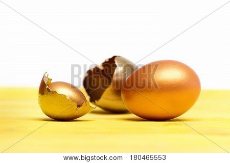 Broken Easter Golden Egg Shell, Future Life, Luxury And Success