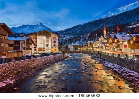 SOLDEN AUSTRIA - 10 JANUARY 2016: Solden Ski Resort Skyline in the Morning Tirol Austria. Solden is a popular ski resort and regularly hosts the first World Cup races of the season.