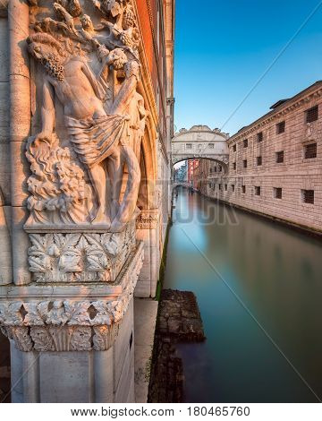 Drunkenness of Noah Sculpture and Bridge of Sighs at Sunrise Venice Italy