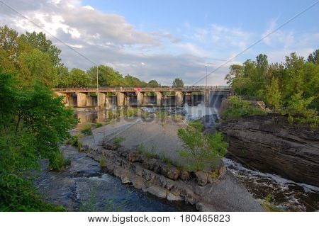 Hog's Back Falls on the Rideau Canal in downtown Ottawa, Ontario, Canada. Rideau Canal is registered as a UNESCO World Heritage Site.