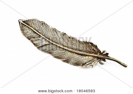 Old Silver Feather Brooch