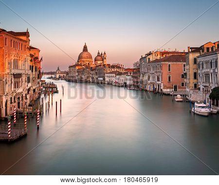 Grand Canal and Santa Maria della Salute Church from Accademia Bridge Venice Italy