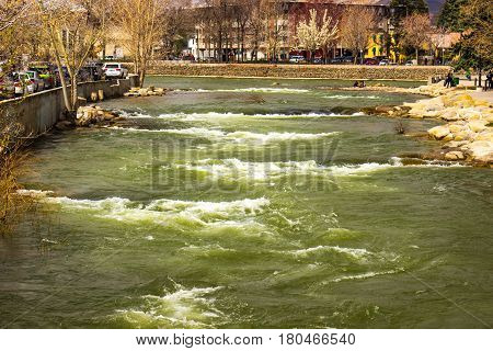 Rushing Truckee River In Reno From Melting Snow