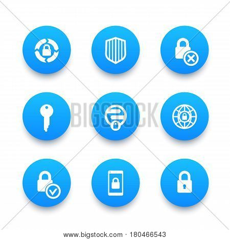 Security icons set, secure transaction, key, lock, shield, online safety
