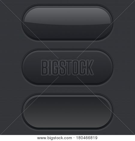 Oval buttons. Normal, pushed, hover. Black user interface elements. Vector illustration