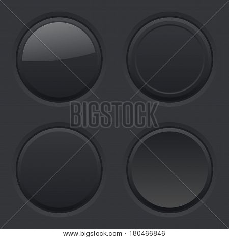 Round buttons. Normal, pushed, active, hover. Black user interface elements. Vector illustrationv