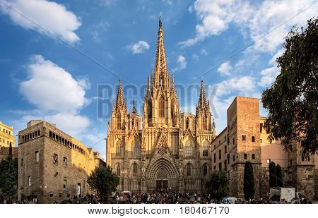 Barcelona Spain - September 25 2015: Cathedral of the Holy Cross and Saint Eulalia in Barcelona Spain at sunset. Unidentified people present on picture.