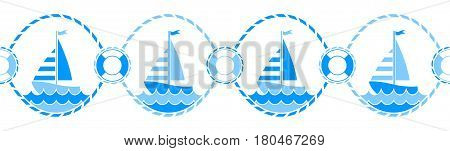 vector seamless nautical border isolated on white background