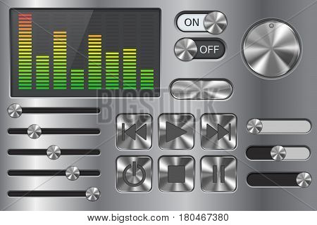 Sound equalizer with slider and media player buttons. Metal chrome collection. Vector illustration