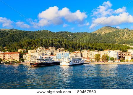 The Mediterranean landscape in Greece. Mediterranean Sea