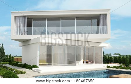 Contemporary modern white house design with offset floors set at angles to each other overlooking a tranquil swimming pool on a sunny day. 3d rendering.