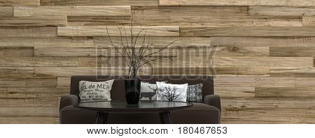 Architectural background banner with a brown upholstered couch and round coffee table with plant in front of a wood finish feature wall in a minimalist interior. 3d rendering.