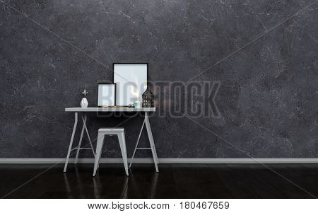 Small modern writing table or desk with blank picture frames and a stool against a textured dark grey wall in a minimalist interior 3d rendering