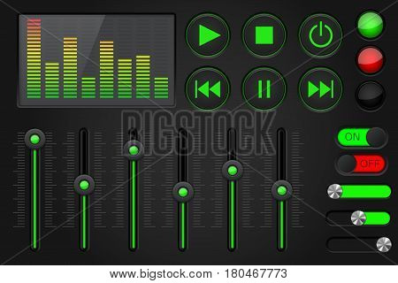 Sound equalizer with slider and media player buttons. Black and green collection. Vector illustration