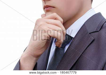 Businessman Thinking On A White Background.