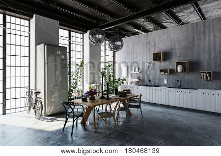 Interior of spacious modern apartment with dining table, chairs and bicycle leaning by tall windows. 3d rendering.